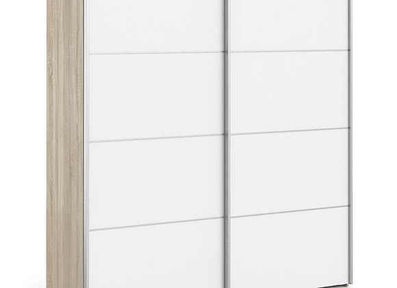 Sliding Wardrobe 180cm in Oak with White Doors with 2 Shelves