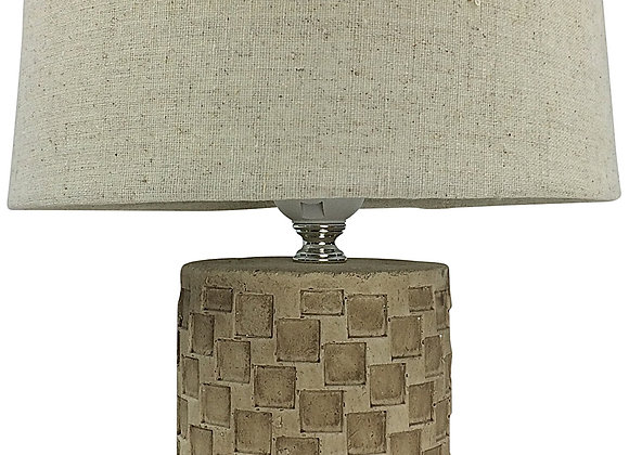 Beige Tile Lamp And Shade 38cm