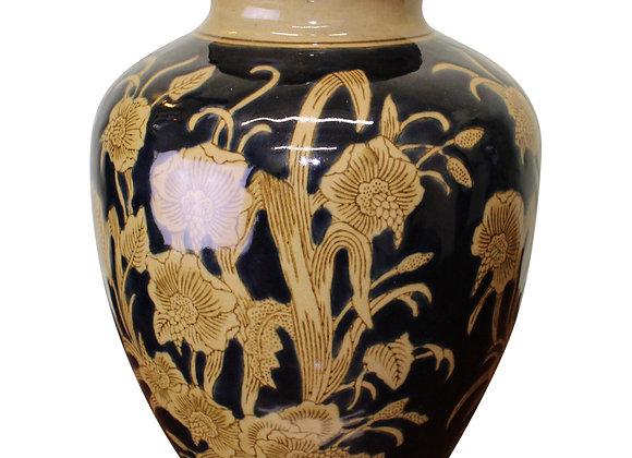 Ceramic Embossed Vase, Regal Design 25cm