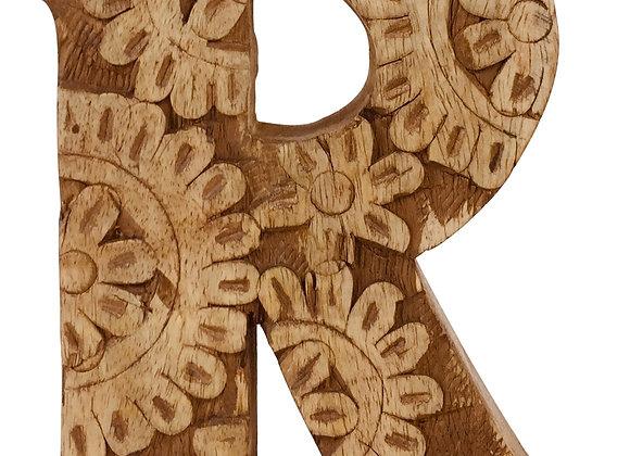 Hand Carved Wooden Flower Letter R
