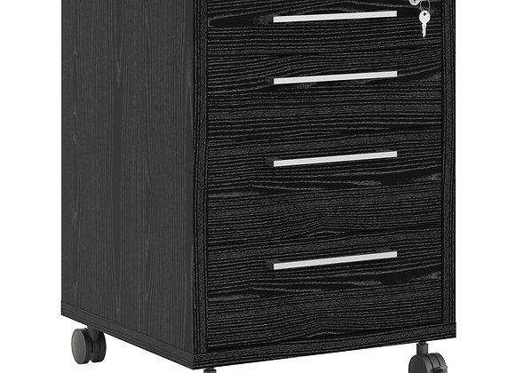 Prima Mobile cabinet in Black woodgrain