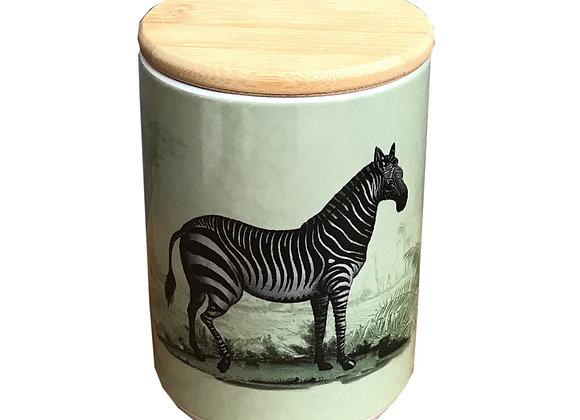 Ceramic Canister With Zebra