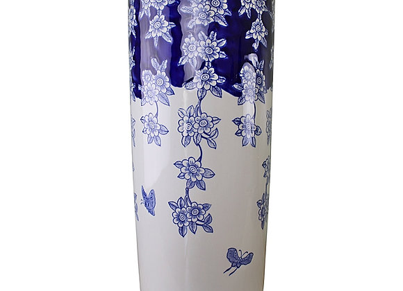 Umbrella Stand, Vintage Blue & White Flowers and Butterfly Design