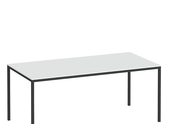 Family Dining Table 180cm White Table Top with Black Legs