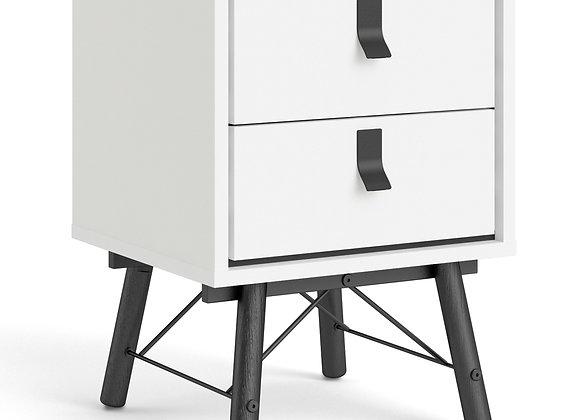 Ry Bedside cabinet 2 drawer in Matt White