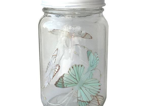 Butterfly Led Light Chain In Glass Jam Jar - Blue