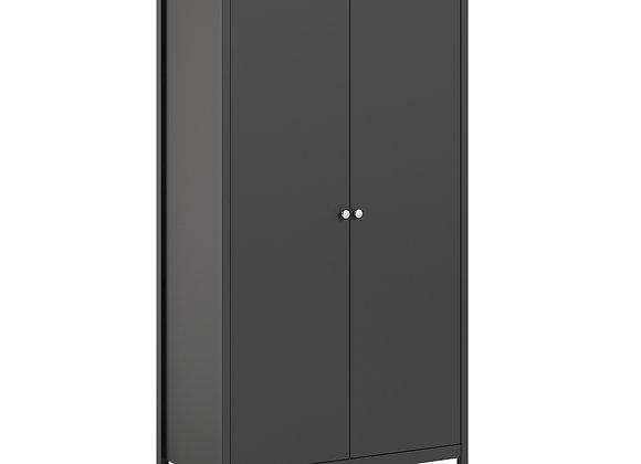 Madrid Wardrobe with 2 doors in Matt Black