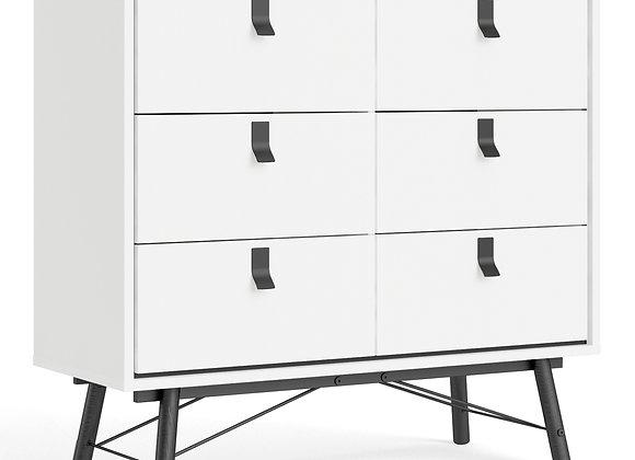 Ry Double chest of drawers 6 drawers in Matt White
