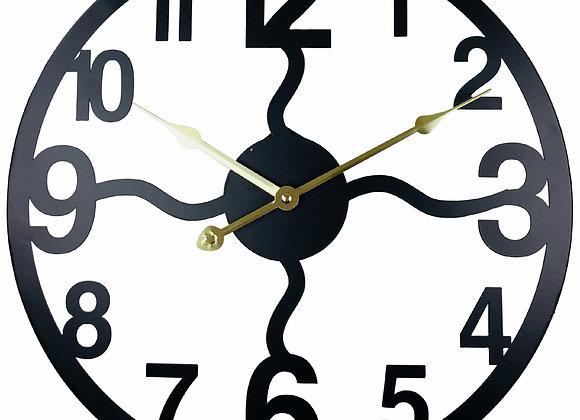 Black Metal Cut Out Wall Clock 40cm