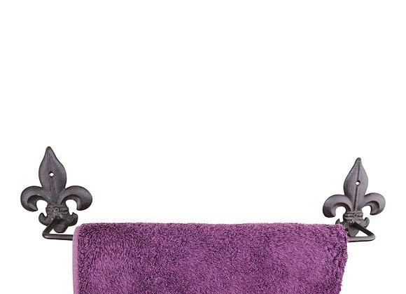 Cast Iron Rustic Towel Rail, Fleur de Lis