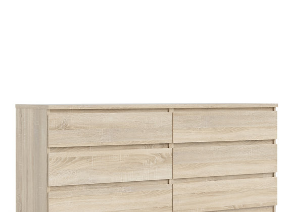 Naia Wide Chest of 6 Drawers (3+3) in Oak structure