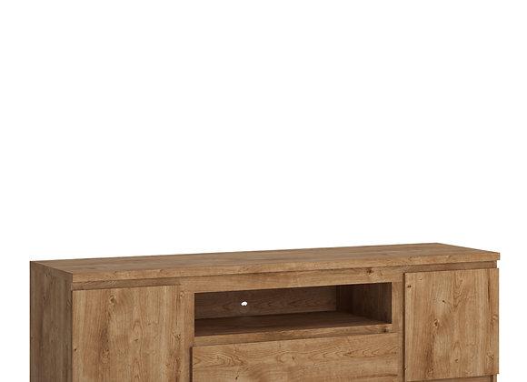 Fribo 2 door 1 drawer 166 cm wide TV cabinet in Oak