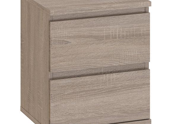 Bedside 2 Drawer in Truffle Oak