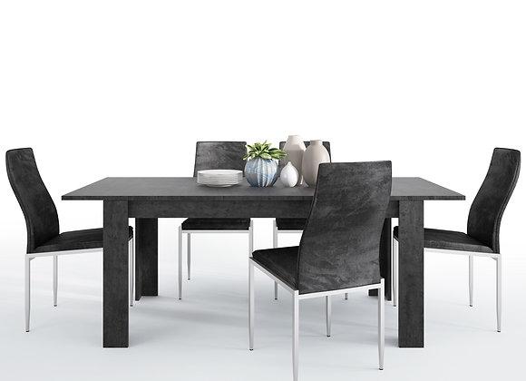 Dining set package Zingaro Dining table + 6 Milan High Back Chair Black.