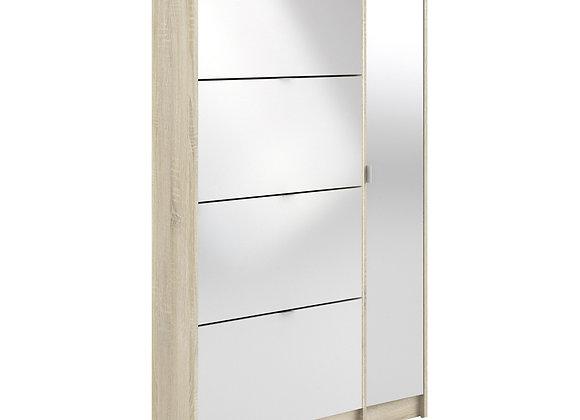 Shoe cabinet w. 4 tilting doors and 2 layers +  1 mirror door
