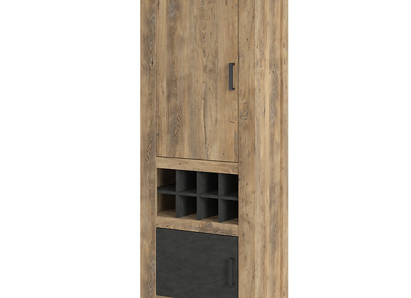Rapallo 2 door cabinet with wine rack in Chestnut and Matera Grey