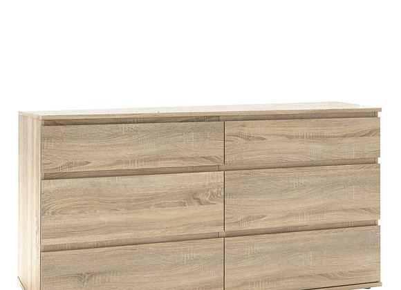 Wide Chest of 6 Drawers (3+3) in Oak