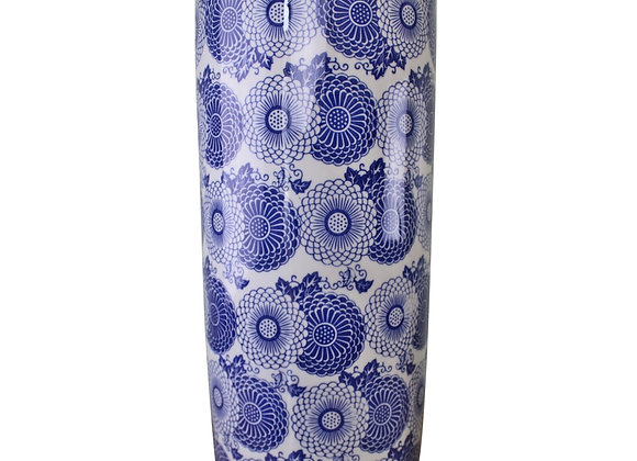 Umbrella Stand, Vintage Blue & White Marigold Design