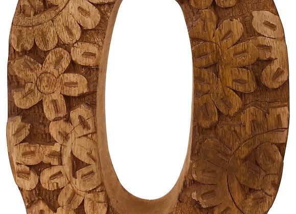 Hand Carved Wooden Flower Letter O