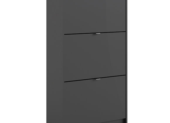 Shoe cabinet  w. 3 tilting doors and 2 layers