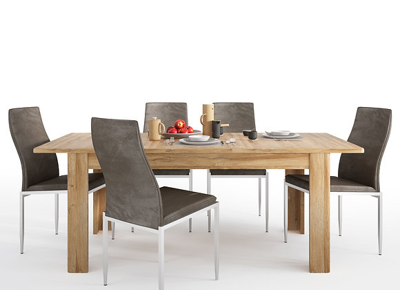 Cortina Extending dining table in Grandson Oak + 4 Milan Chair Dark Brown.