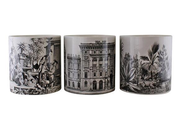 Set of 3 Monochrome Ceramic Large Planters