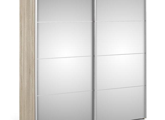 Sliding Wardrobe 180cm in Oak with Mirror Doors with 2 Shelves