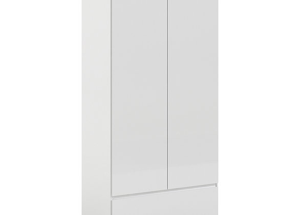Naia Wardrobe with 2 doors + 1 drawer in White High Gloss