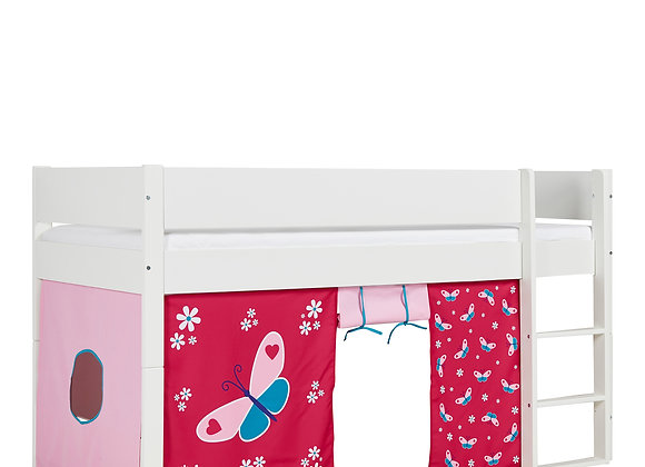 Huxie White Mid Sleeper with Safety Rail in White and Red Butterfly Play Curtain