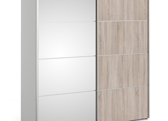Sliding Wardrobe 180cm in White with Truffle Oak and Mirror Doors with 2 Shelves