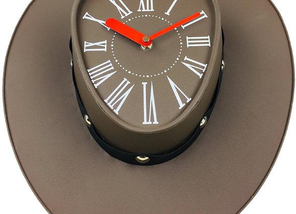 Brown Cowboys Hat Clock 39cm