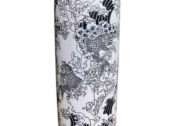 Ceramic Embossed Umbrella Stand, Blue/White Koi Design