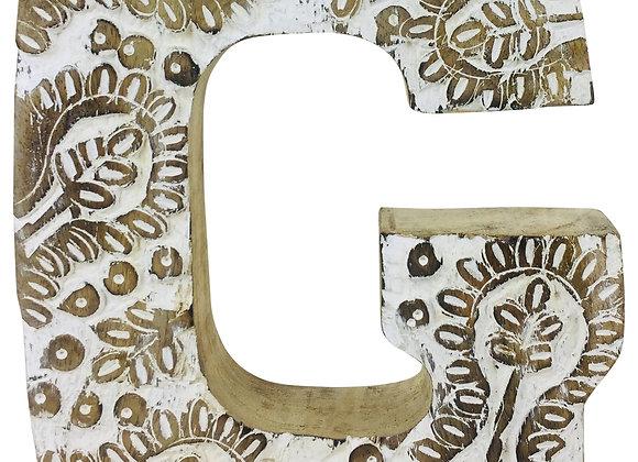 Hand Carved Wooden White Flower Letter G