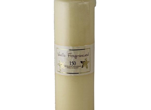 Vanilla Fragranced Pillar Candle, 150hr Burn Time