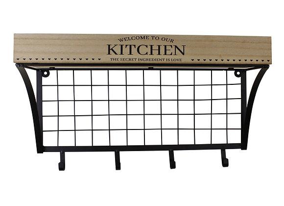 Wall Hanging Kitchen Shelf With Hooks