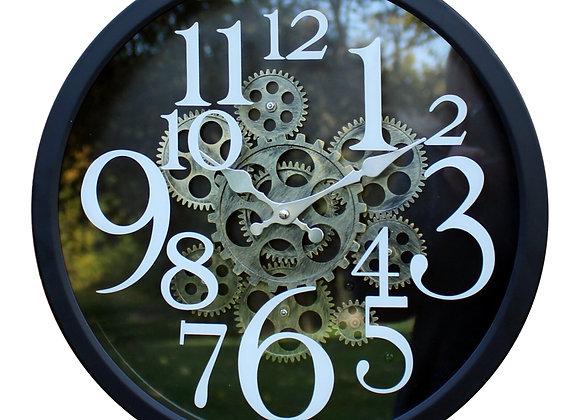 Black Metal Gear Style Clock, 38cm