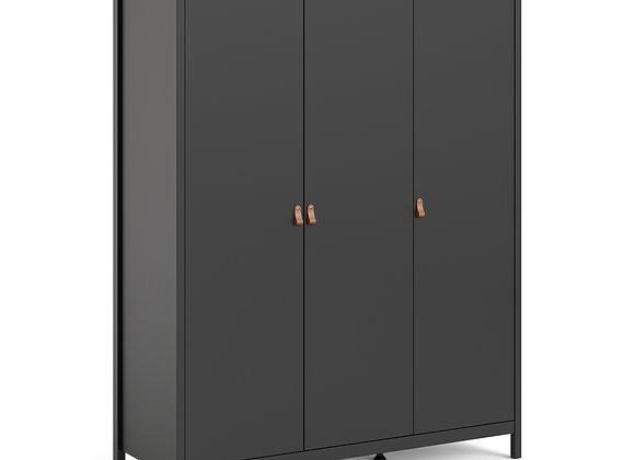 Barcelona Wardrobe with 3 doors in Matt Black