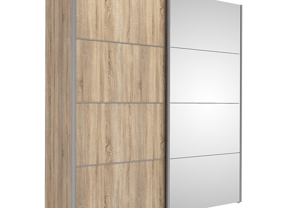 Sliding Wardrobe 180cm in Oak with Oak and Mirror Doors with 5 Shelves