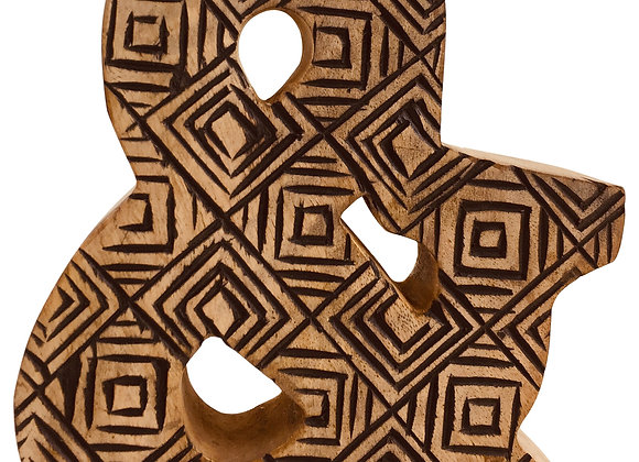 Hand Carved Wooden Geometric Letter &