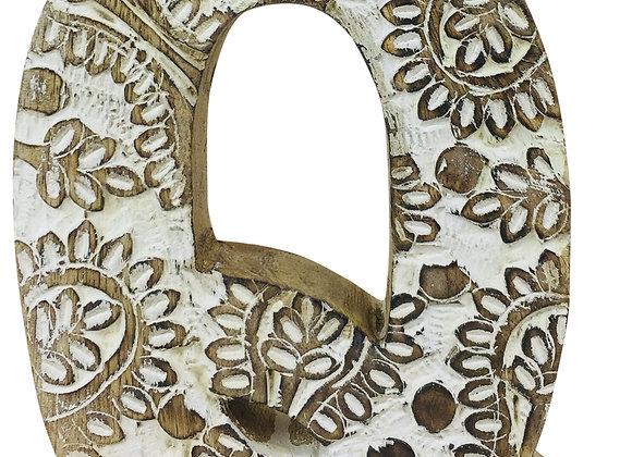 Hand Carved Wooden White Flower Letter Q