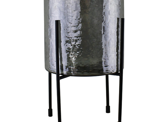 Grey Glass Candle Lantern On Stand, Large