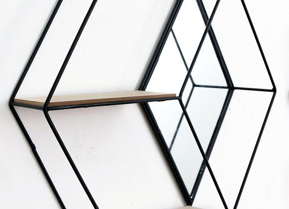 Hexagon Unit With Mirror & 2 Shelves