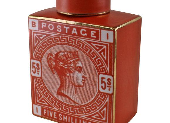 Postage Stamp Decorative Ginger Jar, Burnt Orange