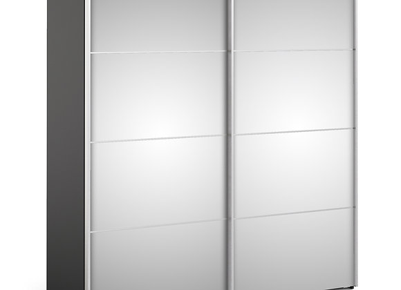 Verona Sliding Wardrobe 180cm in Black Matt with Mirror Doors with 2 Shelves