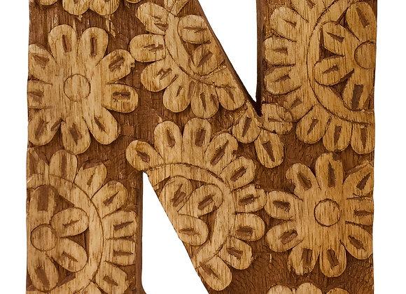 Hand Carved Wooden Flower Letter N