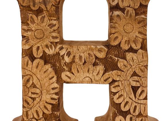 Hand Carved Wooden Flower Letter H