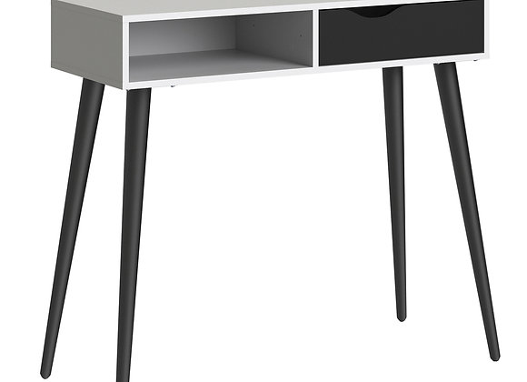 Console Table 1 Drawer 1 Shelf in White and Black Matt