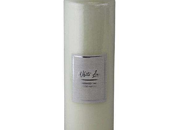 White Linen Fragranced Pillar Candle, 21x7cm