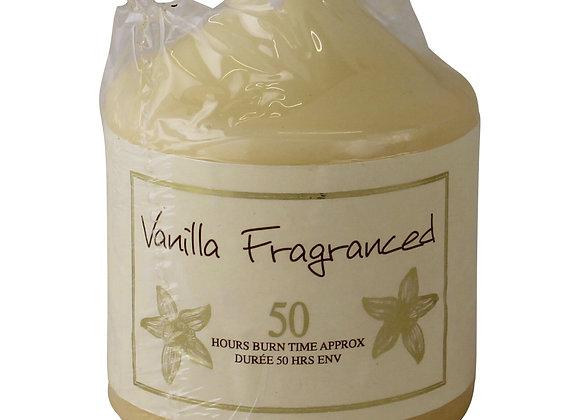 Vanilla Fragranced Pillar Candle, 50hr Burn Time