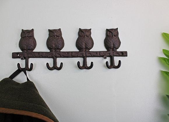 Rustic Cast Iron Wall Hooks, Owls